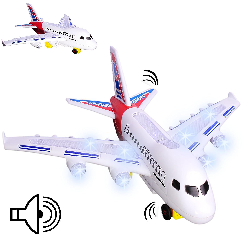 alles-meine GmbH Flugzeug - mit Sound + Fahr- & Wendefunktion + LED Licht - Fährt Elektrisch ..