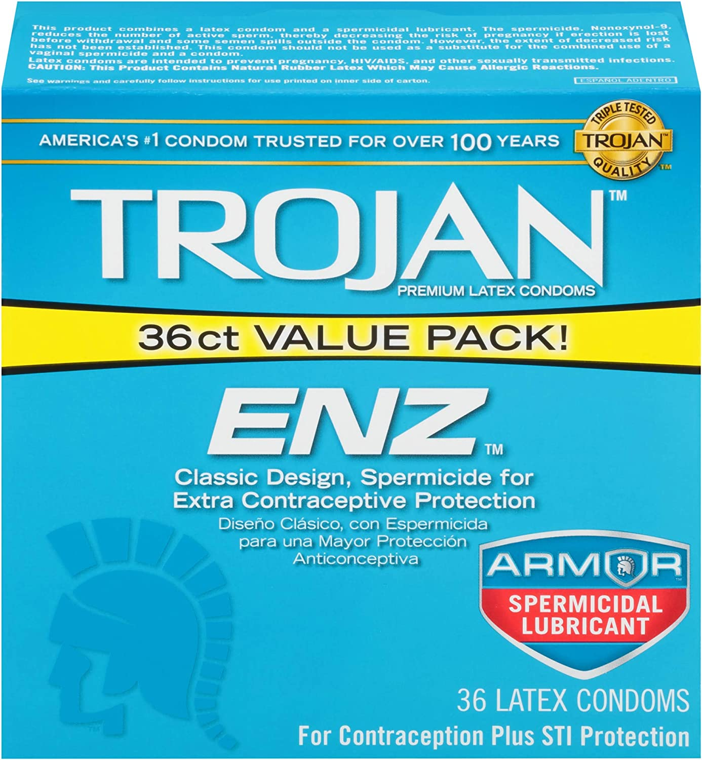 Trojan ENZ Armor Spermicidal Lubricated Condoms - 36 Count (Packaging May Vary)