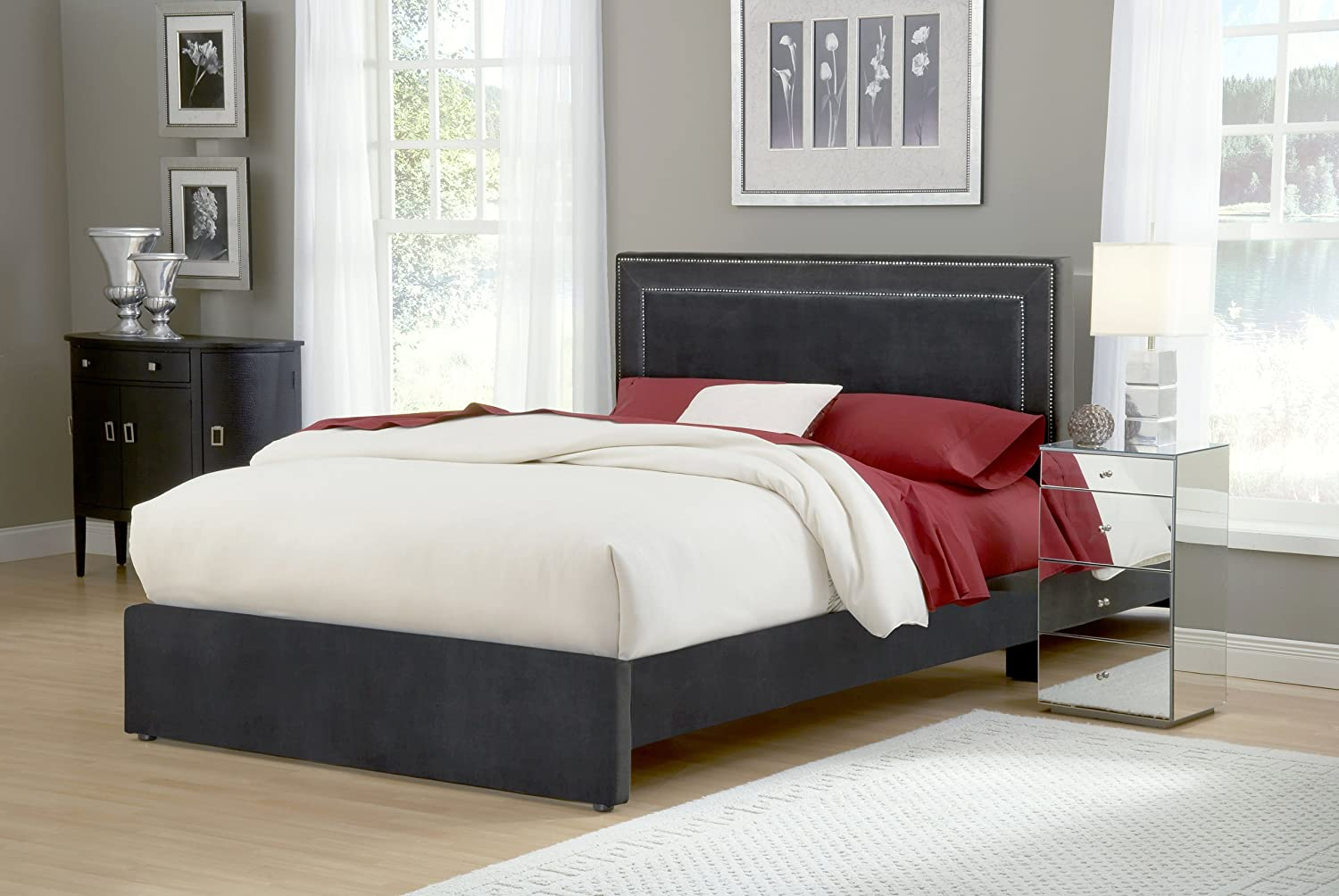 1e36e525915d Amazon.com: Hillsdale Furniture 1638BQRA Amber Bed Set, Queen, Pewter:  Kitchen & Dining
