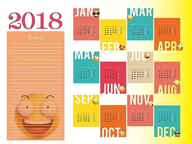 large 2018 calendar 2018 wall calendar calendar 2018 new year gift emoji