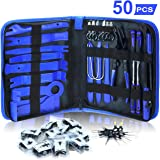 Dualeco Trim Removal Tool Set 50Pcs, Car Trim Puller Tool Kit, Plastic Pry Tools Set for Trim/Panel/Door/Audio, Auto Clip Pliers/Fastener Remover Set, Car Terminal/Stereo Removal Tool