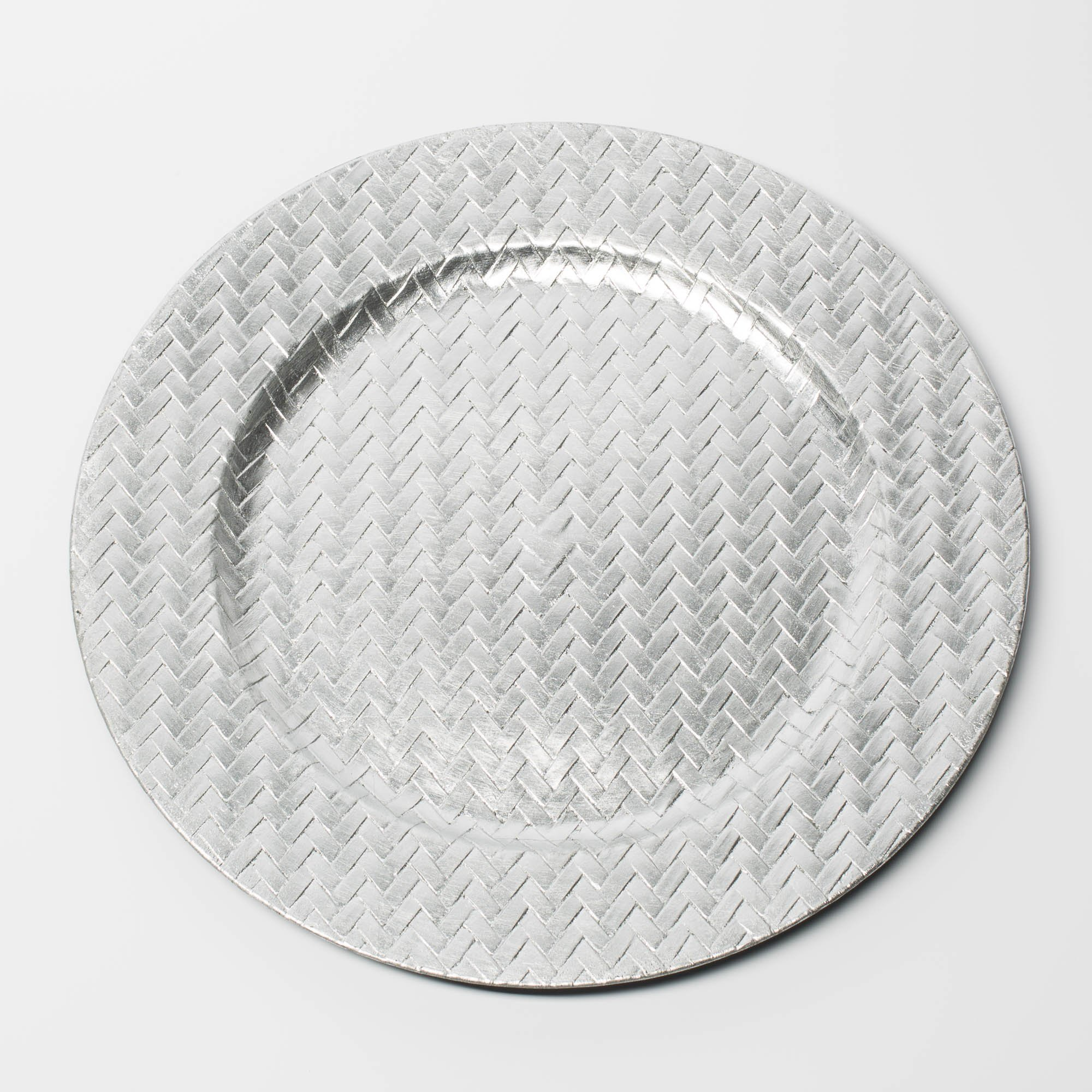 Richland Charger Plate 13'' Woven Silver Set of 12