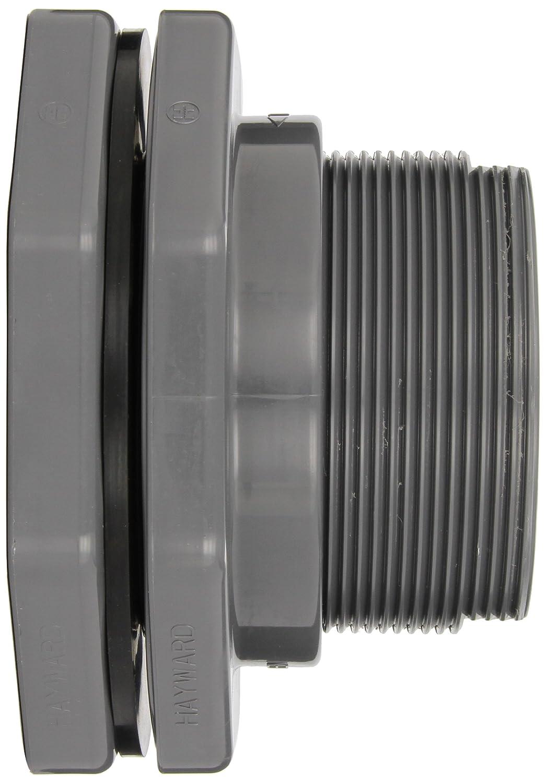 Hayward BFA1040TES Series BFA Standard Flange Bulkhead Fitting PVC with EPDM Seals Threaded x Threaded End 4 Size