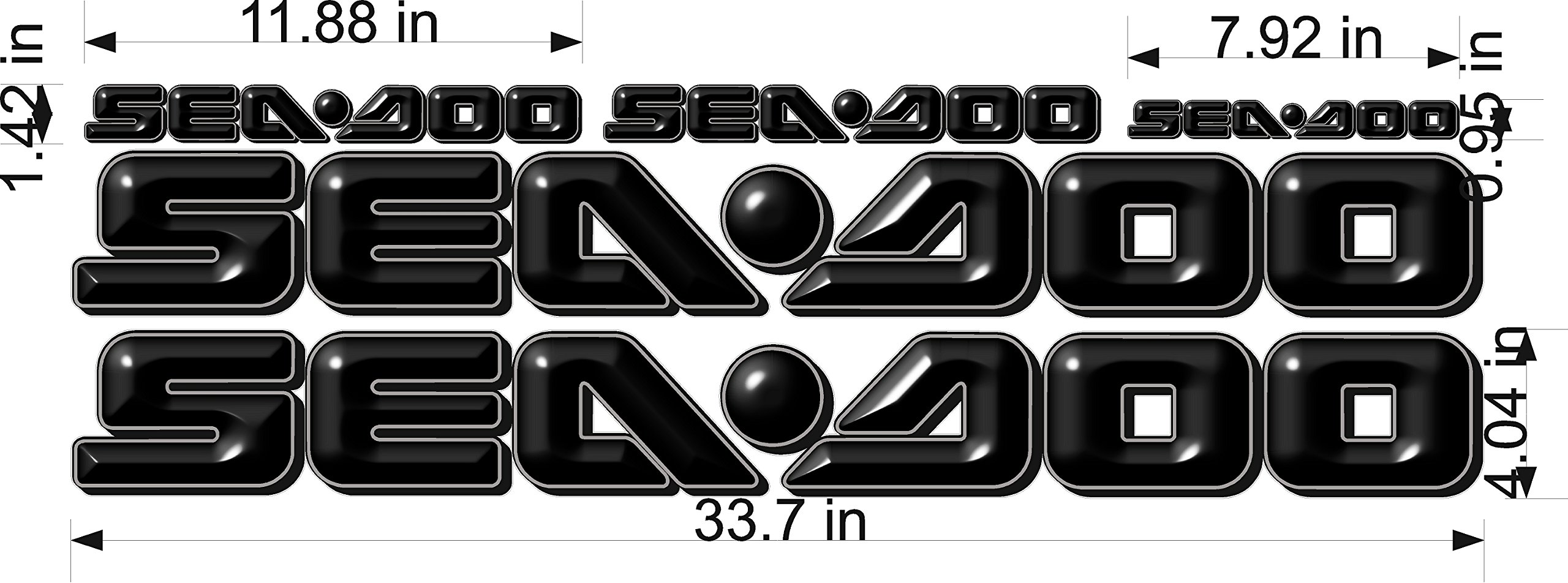 SEA-DOO-BLACK -3D-LOGO-4x34-DECAL-SET-GRAPHIC-STICKER-PACKAGE, REPLACEMENT