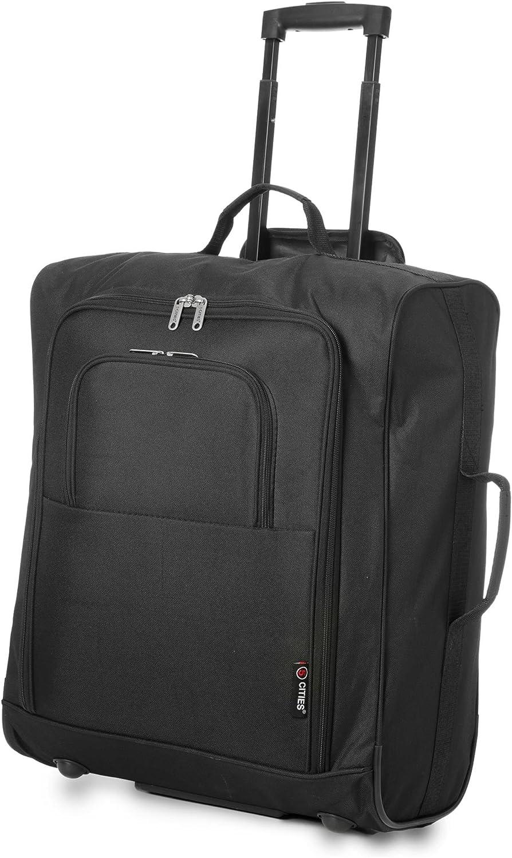5 Cities Easyjet, British Airways, Jet2 56X45X25Cm Maximum Cabin Hand Luggage Approved Trolley Bag Equipaje de Mano, 56 cm, 60 Liters, Negro (Black)