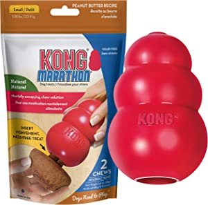 KONG Classic Durable Dog Toy and Marathon Chew Treat Combo (2 Pieces) - Peanut Butter, Small