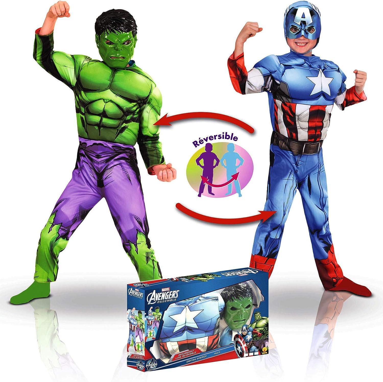 Disfraz Reversible Capitán América y Hulk niño en Caja: Amazon.es ...