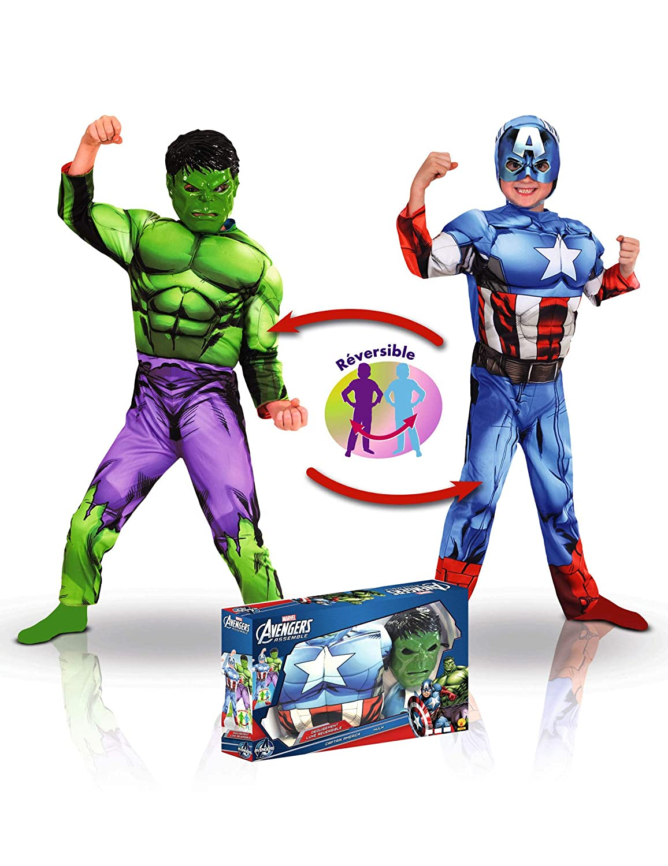Disfraz Reversible Capitán América y Hulk niño en Caja ...