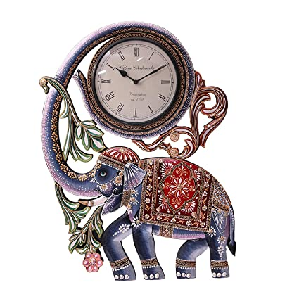 Buy Collectible India Large Wall Clock Handmade Wooden Elephant Wall