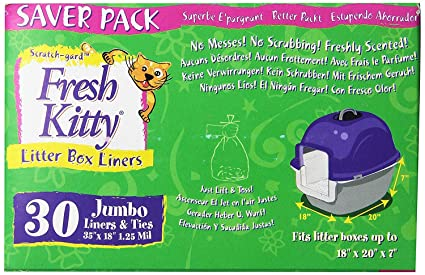 Amazoncom Fresh Kitty Litter Box Liners Jumbo With Ties Pack Of