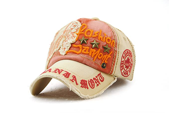 42536e133eb Elwow Men s Distressed Washed Vintage Tribal Chief Pattern Baseball Cap  With Five-pointed Star Rivet