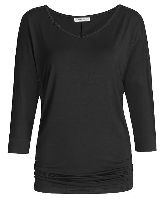 8754dfc7acd Esenchel Women s V-Neck Dolman Top 3 4 Sleeves Drape Shirt at Amazon ...