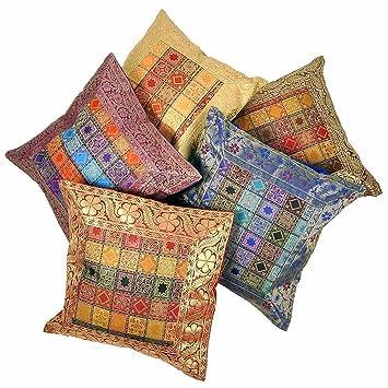 Juego de fundas para cojines hindúes bordados a mano Rastogi handicrafts, brocado de seda 5 piezas multicolores
