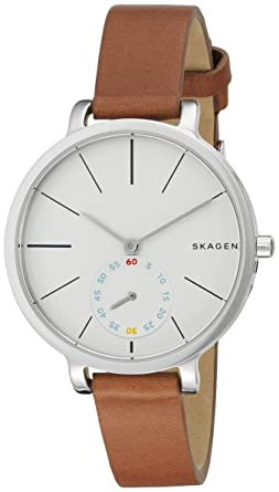 de445668641f Amazon.com  Skagen Women s SKW2434 Hagen Dark Brown Leather Watch ...
