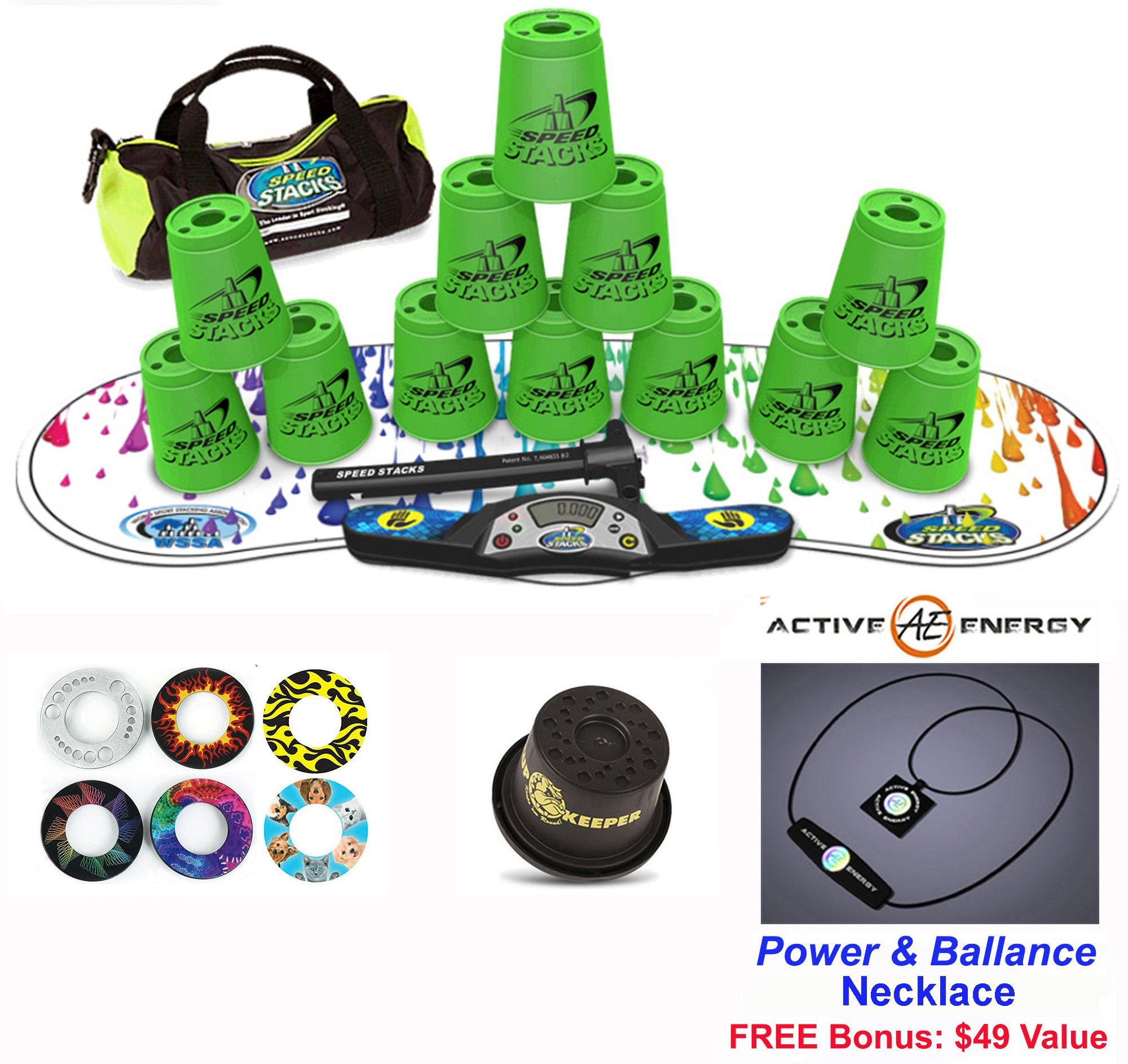 Speed Stacks Combo Set ''The Works'': 12 GREEN 4'' Cups, RAINBOW DROP Gen 3 Mat, G4 Pro Timer, Cup Keeper, Stem, Gear Bag + Active Energy Necklace