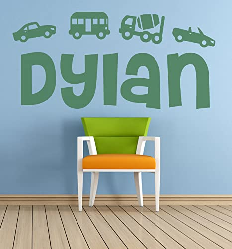 personalised name cars transport vehicles vinyl wall art sticker
