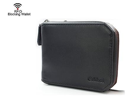 a3c5eff0ffb21 RFID Blocking Men s Women s Genuine Leather Wallet Waterproof Zip Around  Bifold Black