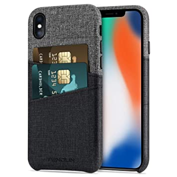 TENDLIN Funda iPhone X Caso de Cartera de Cuero Sintético con 2 Ranuras para Tarjetas Compatible con iPhone X/iPhone XS (Negro)