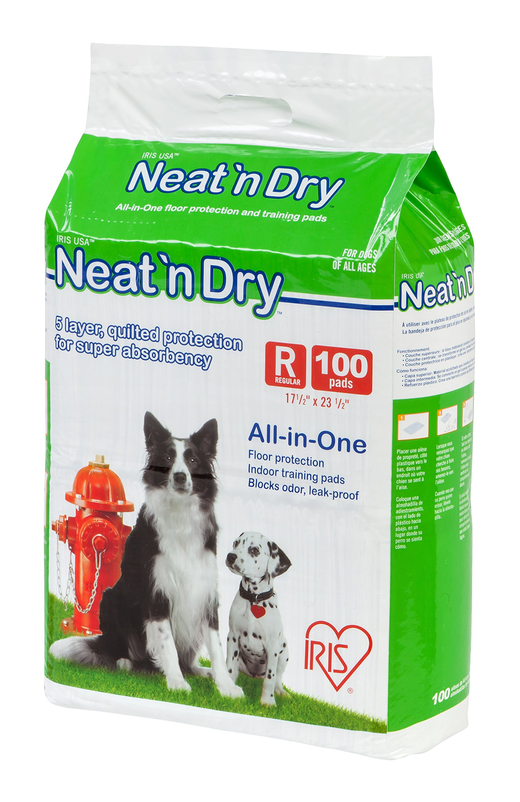 IRIS Neat 'n Dry Premium Pet Training Pads, Regular, 17.5'' x 23.5'', 100 Count