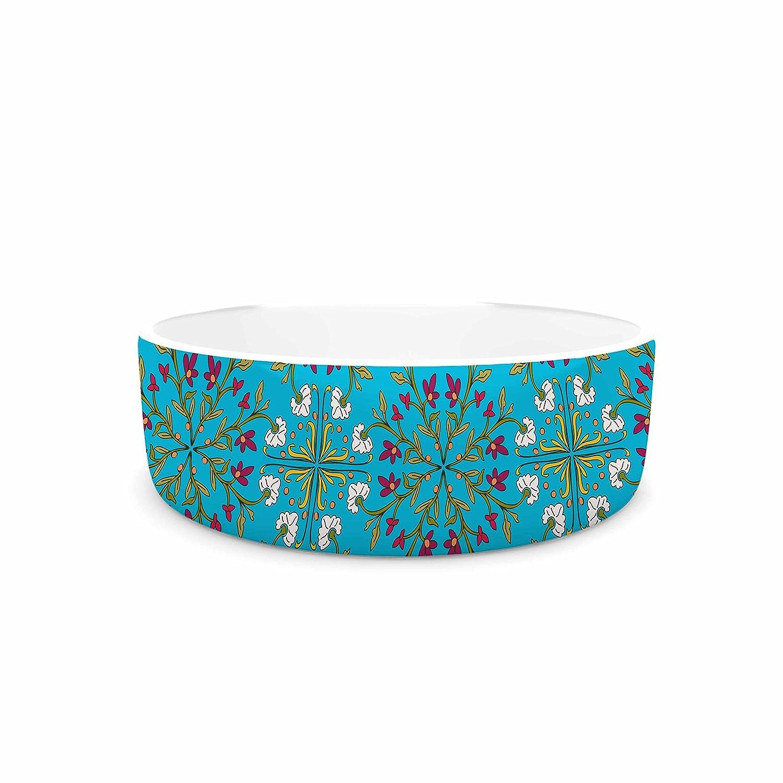 KESS InHouse Mayacoa Studio Morrocan Tile In bluee  Geometric Floral Pet Bowl, 7
