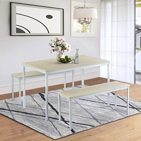 Amazon Com Hinpia Dining Table Set Kitchen Table With 2 Benches Kitchen Contemporary Home Furniture Beige Kitchen Dining