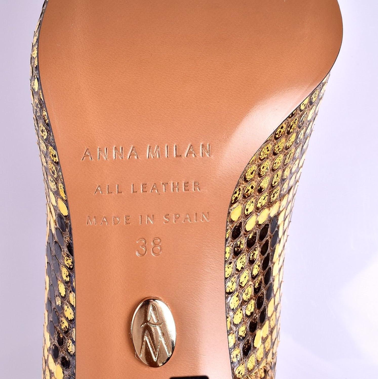 ANNA MILAN Scarpe Decollete Donna Pitone in Giallo Giallo Giallo Sottopiede in Gel Collezione Esclusiva Fatto in Spagna Taglie 38-40 5dd2cc