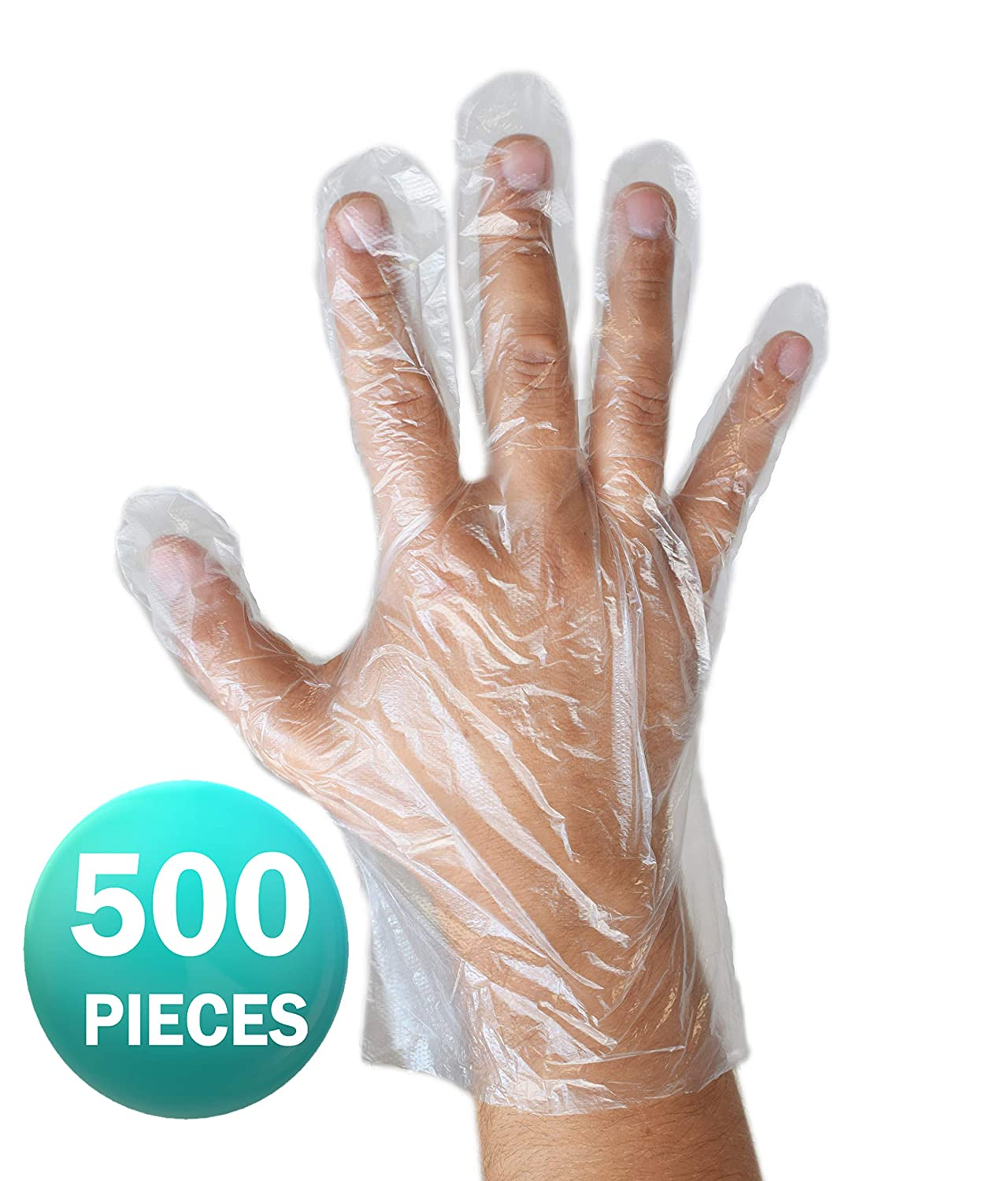 Polyethylene HDPE 500 gloves by ASPRO Disposable clear gloves transparent