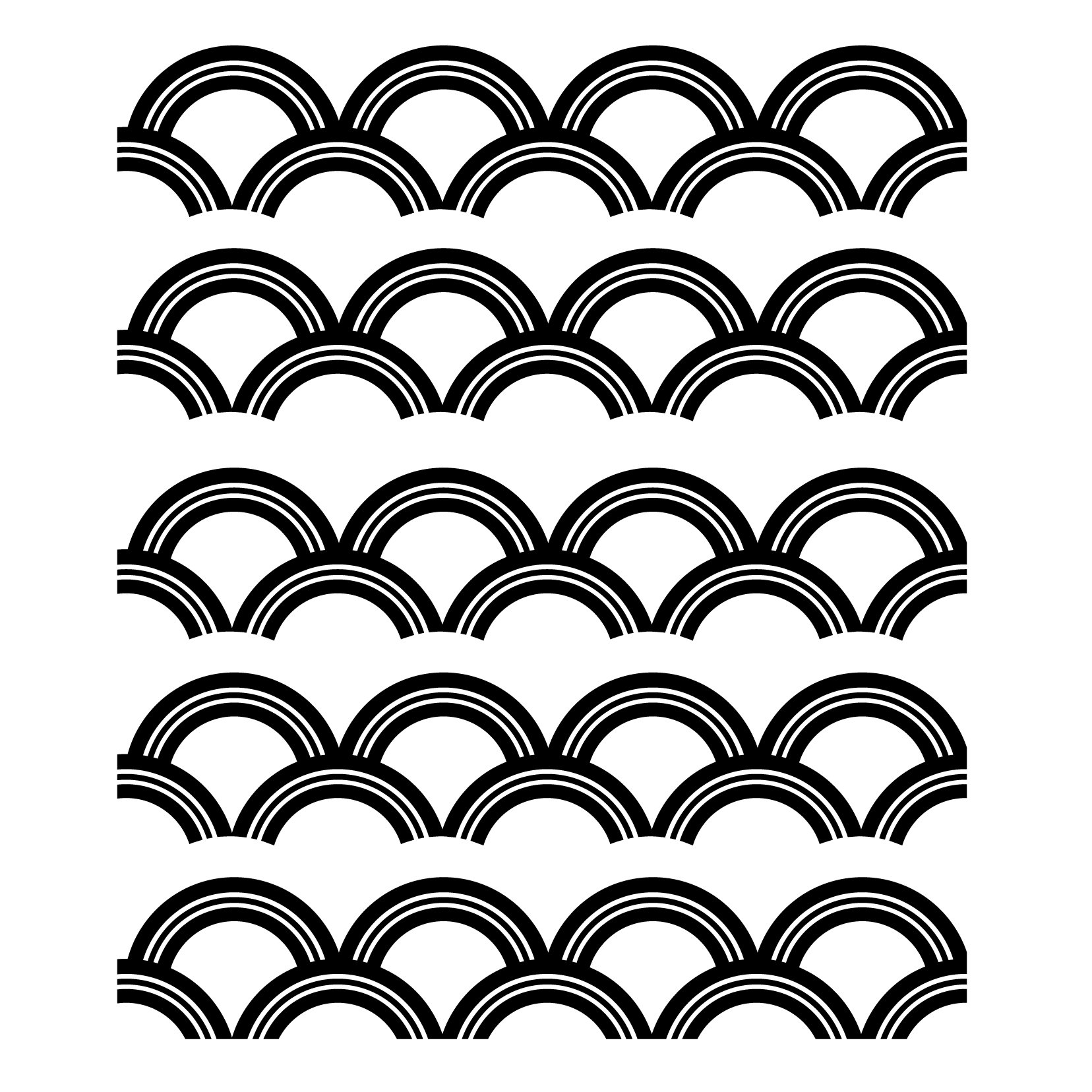 Art Deco Scallop Pattern - Black - Custom Vinyl Wall Art Decal Decor, Wall Decor, for Homes, Offices, Kids Rooms, Nurseries, Schools, High Schools, Colleges, Universities, Interior Designers, Architects, Remodelers