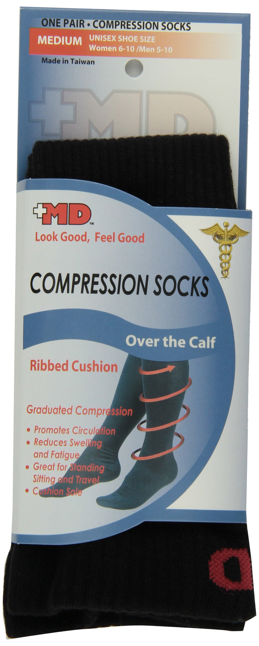 a1cfde0d7b Amazon.com: MD USA Ribbed Cotton Compression Socks with Cushion, Black,  Medium: Health & Personal Care