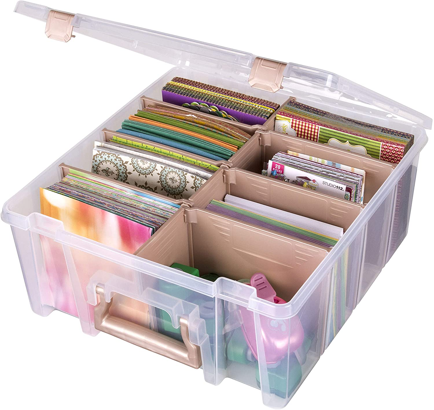 ArtBin 6990RK Super Satchel Double Deep, Portable Art & Craft Organizer with Handle, [1] Plastic Storage Case, Clear with Rose Gold Accents