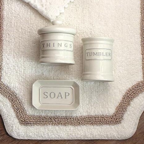 Accessori Bagno Blanc Mariclo.Blanc Mariclo Set Da Bagno Shabby Chic In Ceramica Colore Avorio