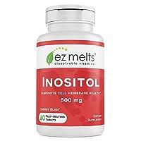 EZ Melts Inositol as Myo-Inositol for PCOS, 500 mg, Sublingual Vitamins, Vegan,...