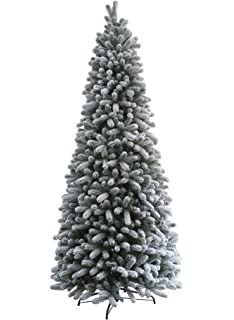 king of christmas 75 foot pre lit king flock slim christmas tree with 500 bright - 4 Foot White Christmas Tree