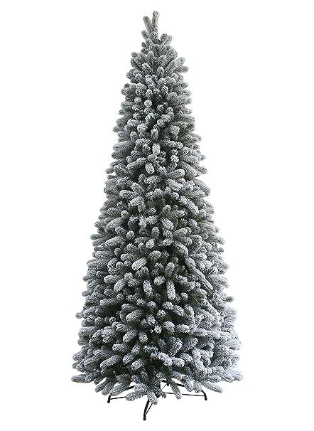 King Of Christmas 9 Foot King Flock Slim Christmas Tree Unlit