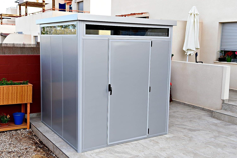 Thermoestank Caseta de Jardín Metal con Aislamiento térmico con Marcos de Aluminio y Vidrio cámara 2.65 x 2.04 MTS: Amazon.es: Jardín