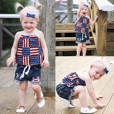 Amazon.com: 2PCS Toddler Girl Summer Short Sleeve T-Shirt Tops+ ...