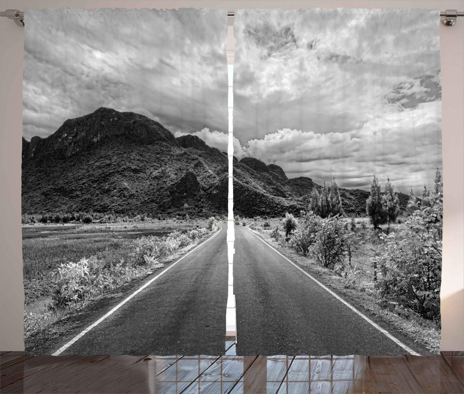 Ambesonne landscape decor curtains black and white artsy photo of the road leading to a mountain artsy panorama living room bedroom window drapes 2 panel