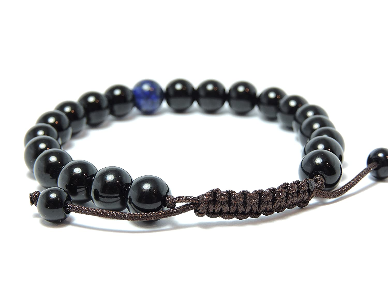 Black Onyx Wrist Mala/ Bracelet with Lapis Spacer for Meditation GMS-06 Hands Of Tibet