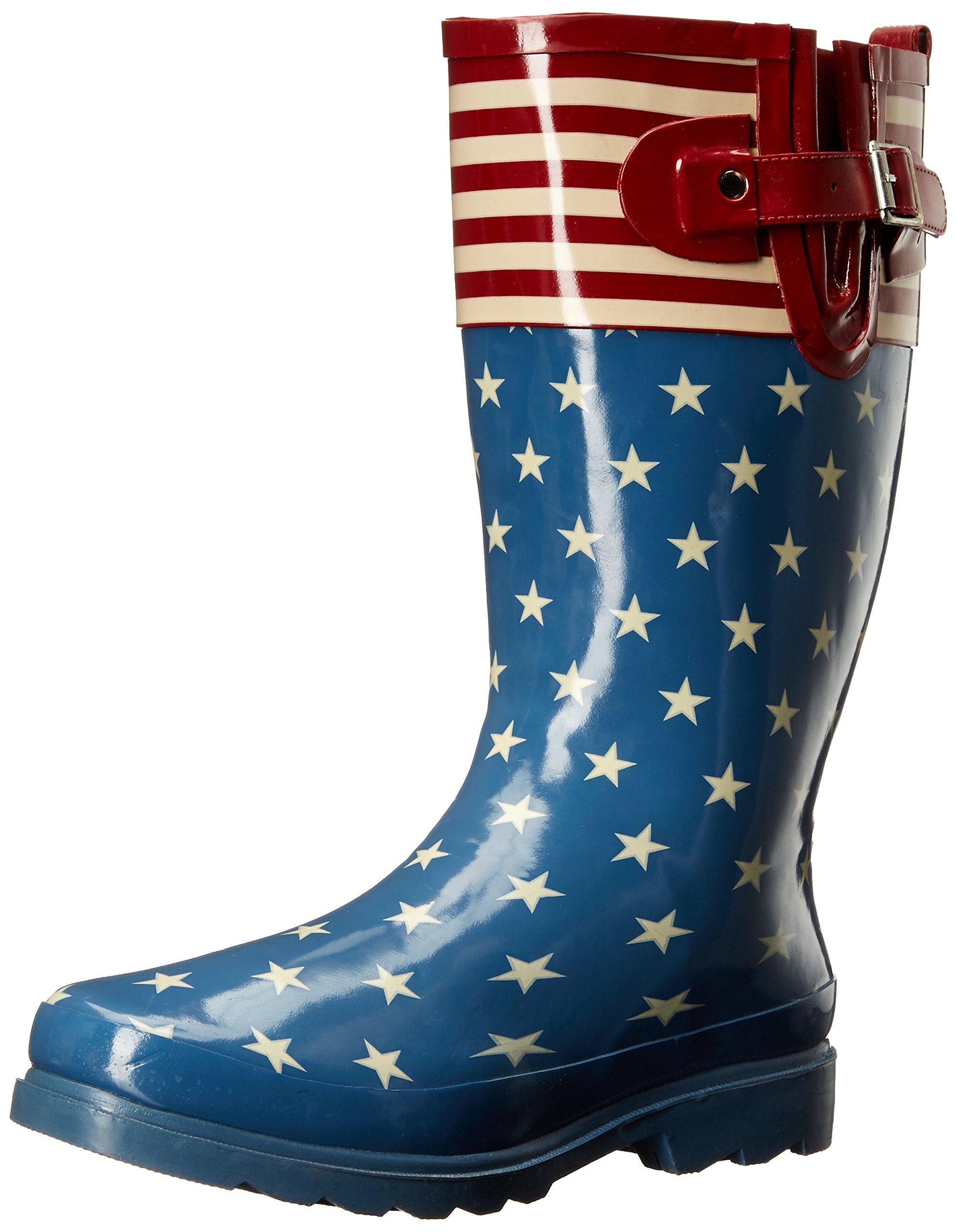 Western Chief Women's Printed Tall Rain Boot, Flag Top Pop, 9 M US