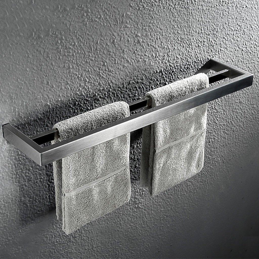 タオルラックウォールマウントウォールマウントステンレスタオルロッドダブルポールタオルラックのドアの浴室のキッチン B07D9L97HF