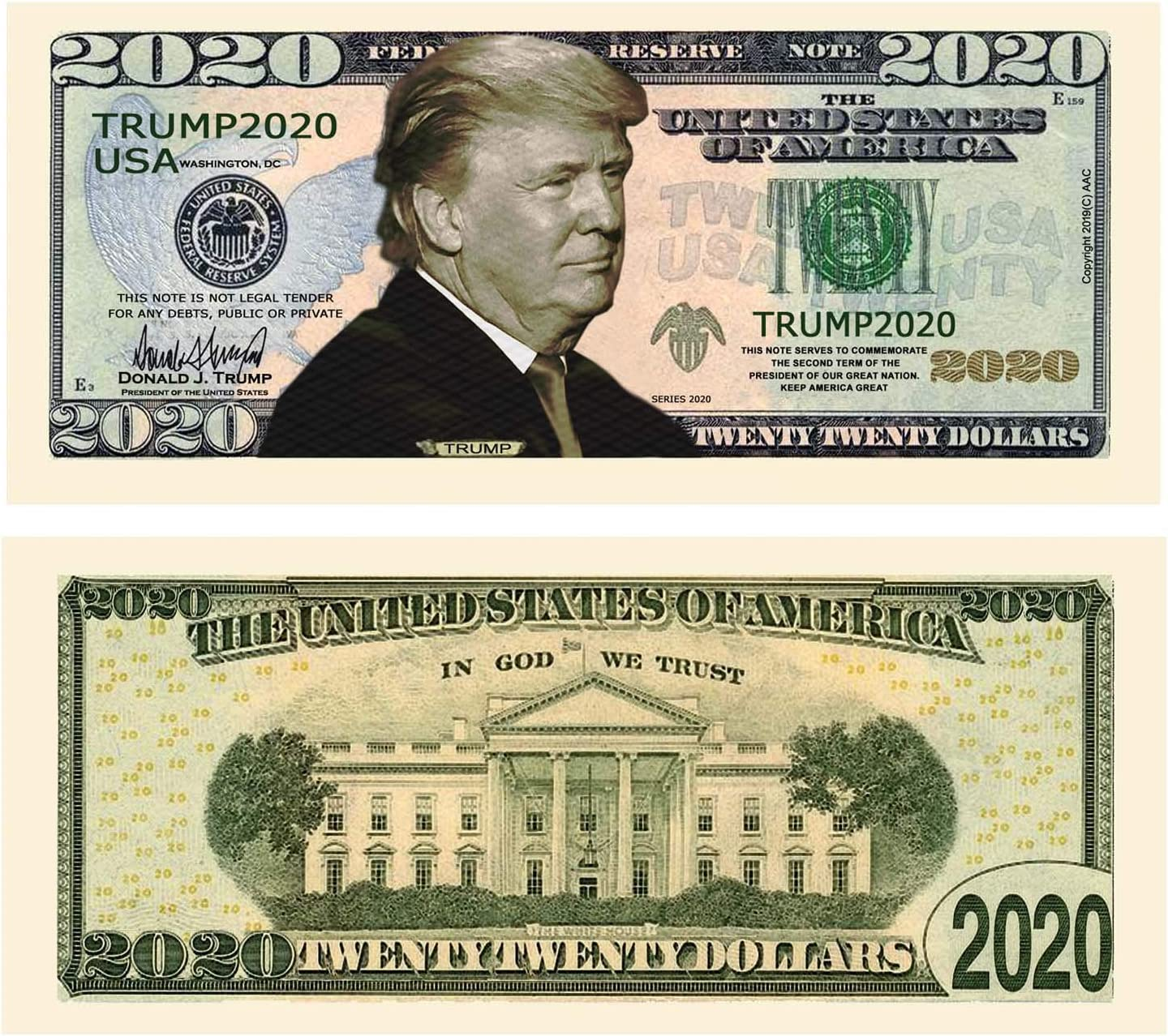 Donald Trump 2020 Re-Election - Pack of 50 - Presidential Dollar Bill - Limited Edition Novelty Dollar Bill. Full Color Front & Back Printing with Great Detail. Novelty Dollar Bill