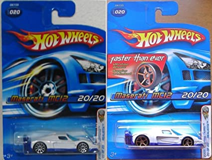 Amazon.com  Set of 2 Hot Wheels White MASERATI MC12 2005 First ... ee50c473d75