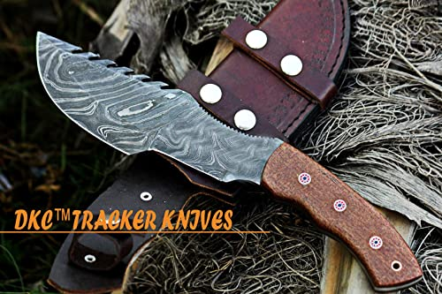 DKC Knives 16 6 18 DKC-400 DS Sierra Tracker Damascus Survival Prepper Hunting Knife Mahogany Micarta 12 Long, 6 Blade 13ozl Damascus Steel Blade Very Solid Knife
