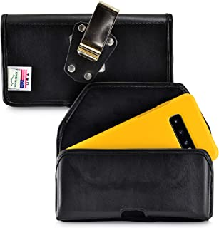 product image for Turtleback Belt Case Designed for Galaxy S10+ Plus Fits with OTTERBOX Symmetry, Black Leather Holster Pouch with Heavy Duty Rotating Belt Clip, Horizontal Made in USA