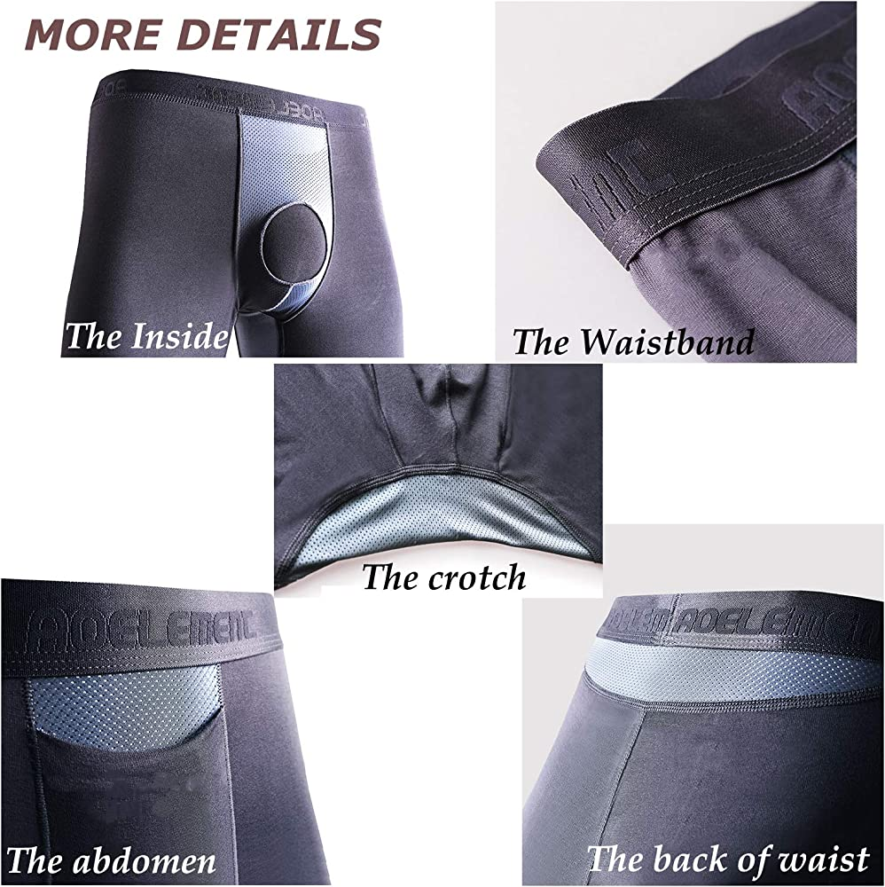 Ouruikia Mens Thermal Underwear Pants Modal Thermal Bottoms Long Johns Pants Underwear with Separate Pouch