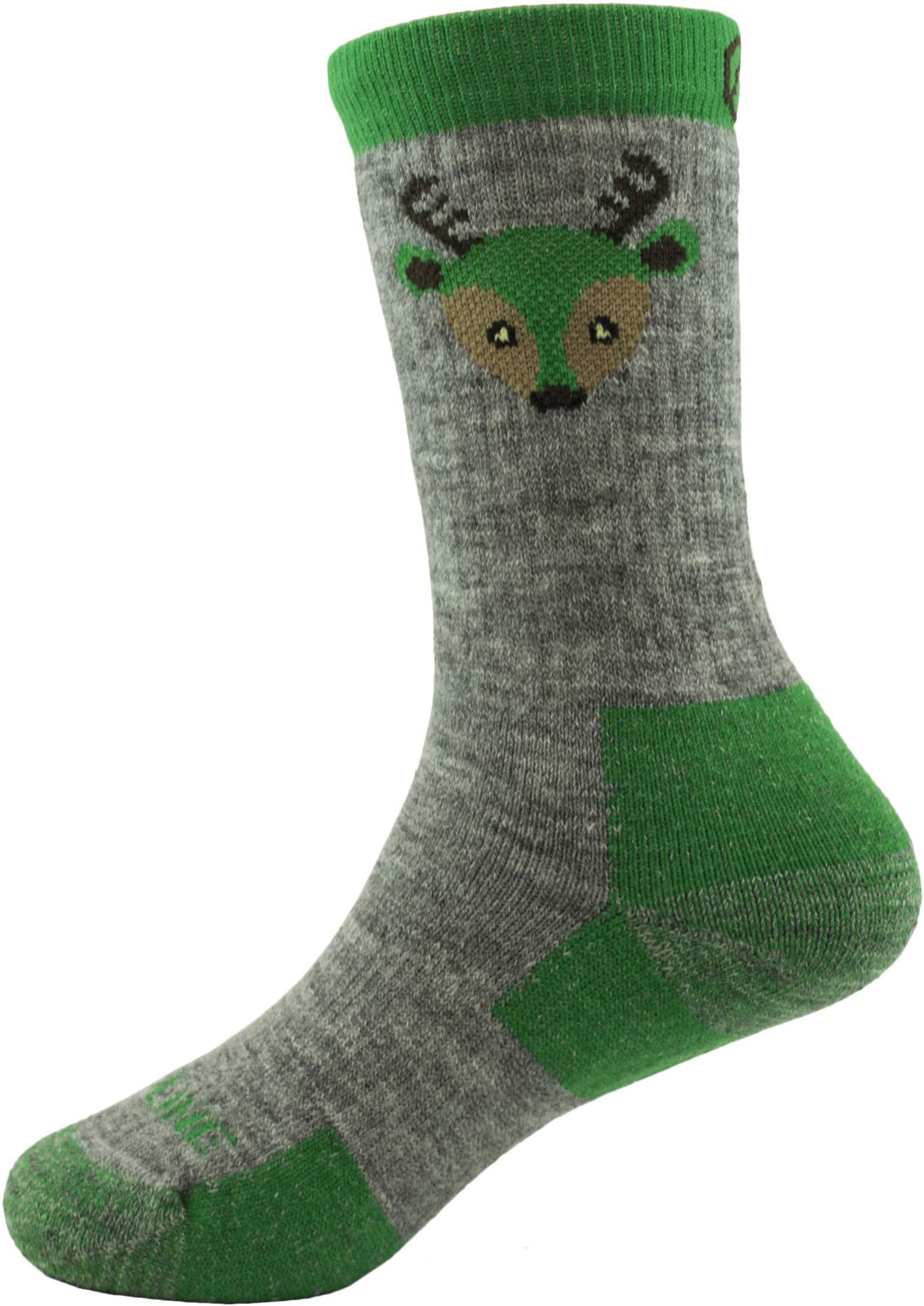 CloudLine Merino Wool Kid's Spirit Animal Socks - 2 Pack Green Deer - Size Y-XS - Made in USA