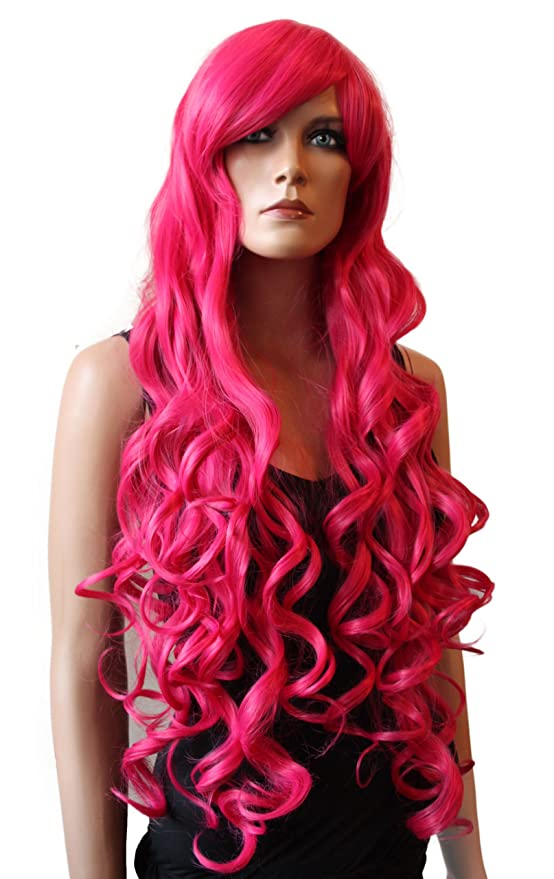 PRETTYSHOP Peluca de pelo largo rizado de fibra sintética resistente al calor rosa CP14: Amazon.es: Belleza
