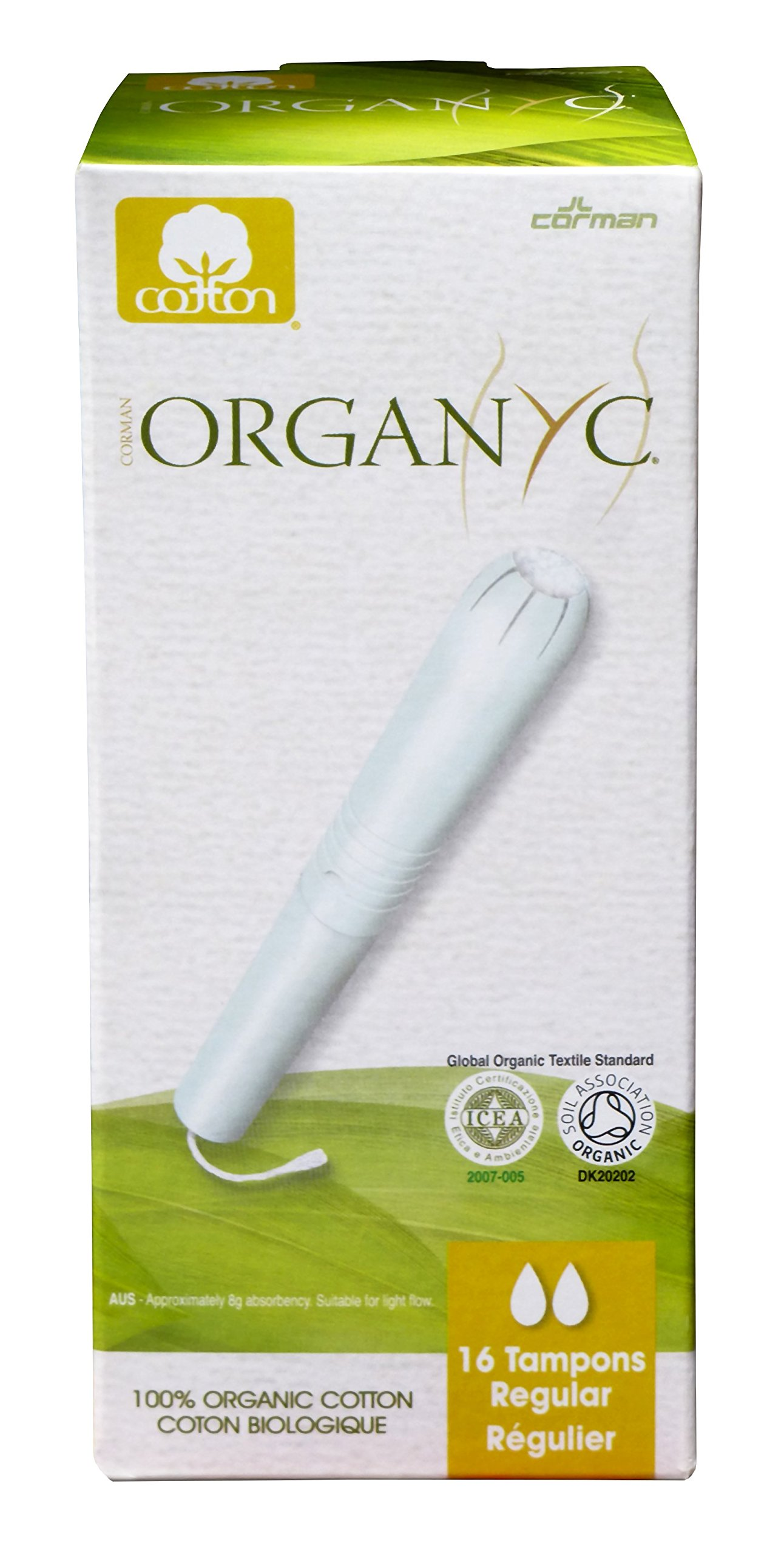 Organyc 100% Organic Cotton Tampons with Applicator for Sensitive Skin, REGULAR, 16 count