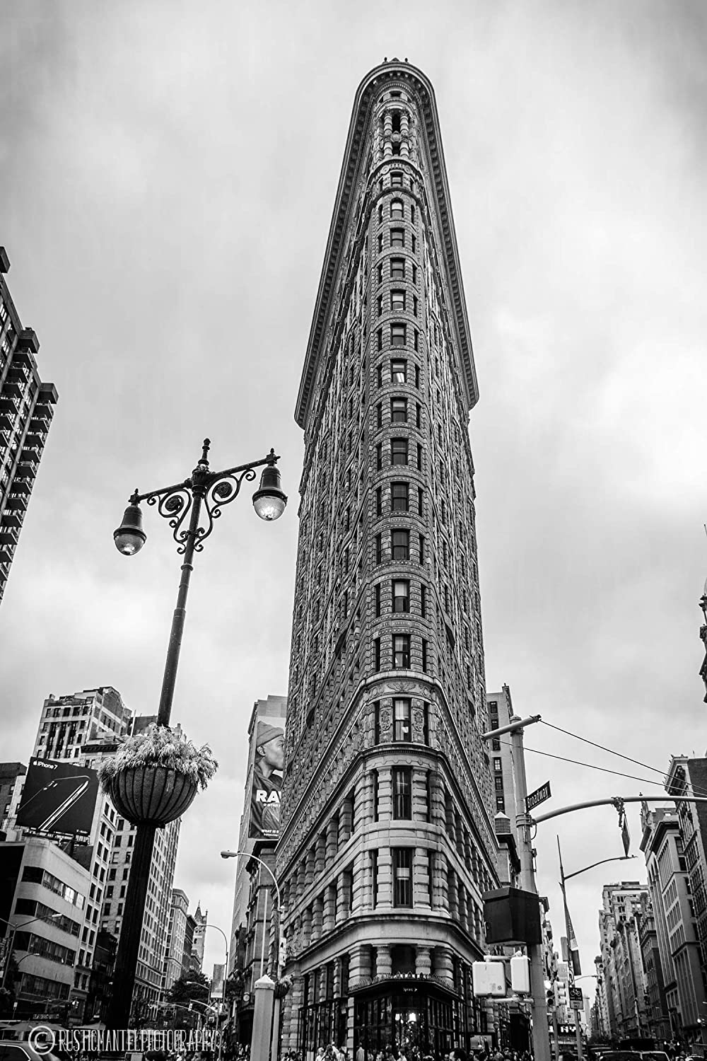 Flatiron building in black and white photography photo print home wall decor new york city living room bed room den lampost classic sizes available from