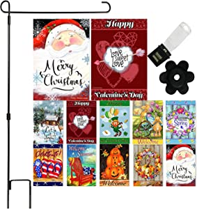 Seasonal Garden Flag Set of 10 - 12 x 18 Inch Yard flag Decorations Double Sided Banner For Outdoor Porch With Garden Flag Holder Stand and Anti-Wind Clip and Stopper